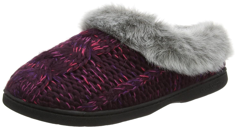 Dearfoams Damen Chunky Novelty Knit Clog with Memorry Foam Hausschuhe, Grey (Light Heather Grey Violett (Aubergine 00765)