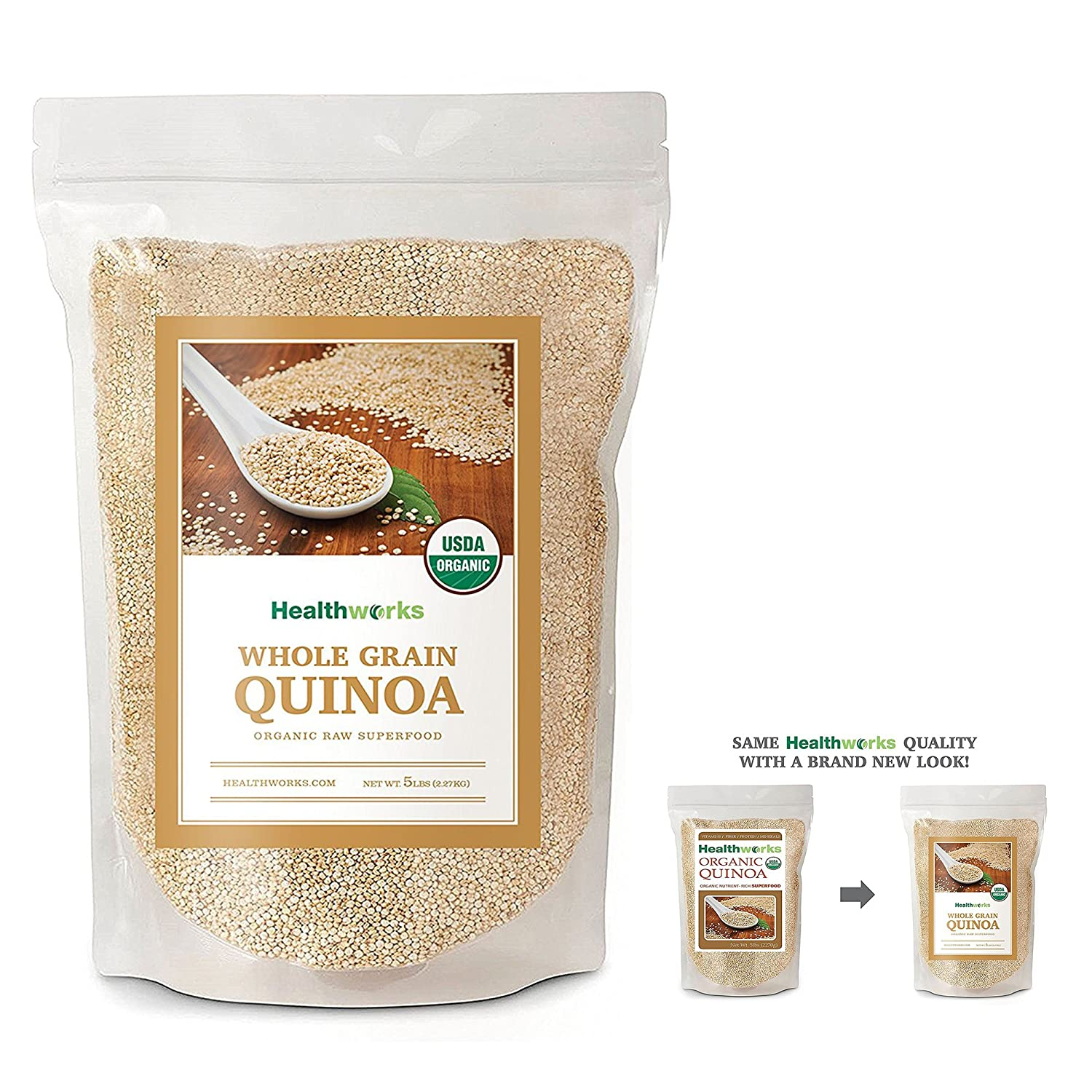 Healthworks Quinoa White Whole Grain Organic, 5lb