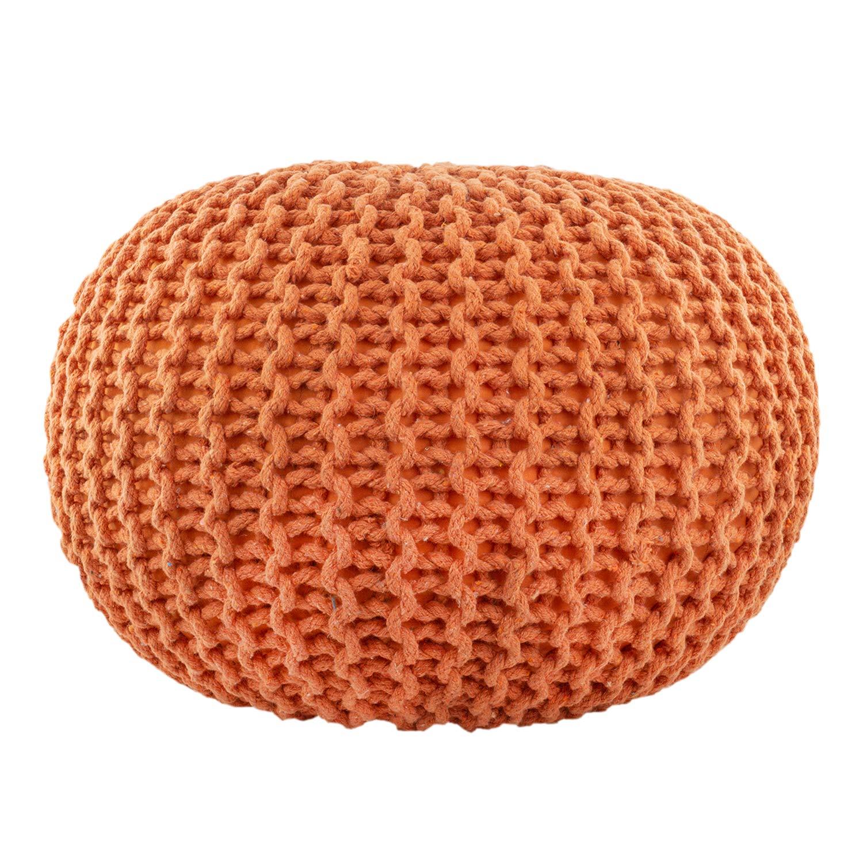 CC Moderner Sitzpouf Sitzwürfel Handgefertigt Baumwolle Grobstrick Orange Orange Orange 50x30cm, Farbe Orange 605907