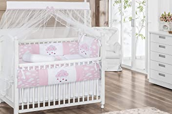 Raindrop Cloud Star Pink Baby Girl 08 pc Nursery Crib Bedding Set Embroidered