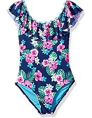 Angel Beach Girls' Big One Piece Swimsuit with Flounce