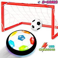 Toyk Kids Toys - LED Light Hover Soccer Ball Set with 2 Goals - Air Power Training Ball Playing Football Game - Rechargeable Indoors Soccer Toys 3 4 5 6 7 8-16 Years Old Boys Girls Best Gift