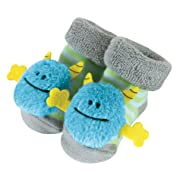 Stephan Baby Rattle Socks, Blue Monsters, Fits 3-12 Months