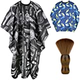 Himart Hair Cutting Barber Cape 2 Pack Professional Haircut Salon Cape for Men Women Children with Neck Duster Brush