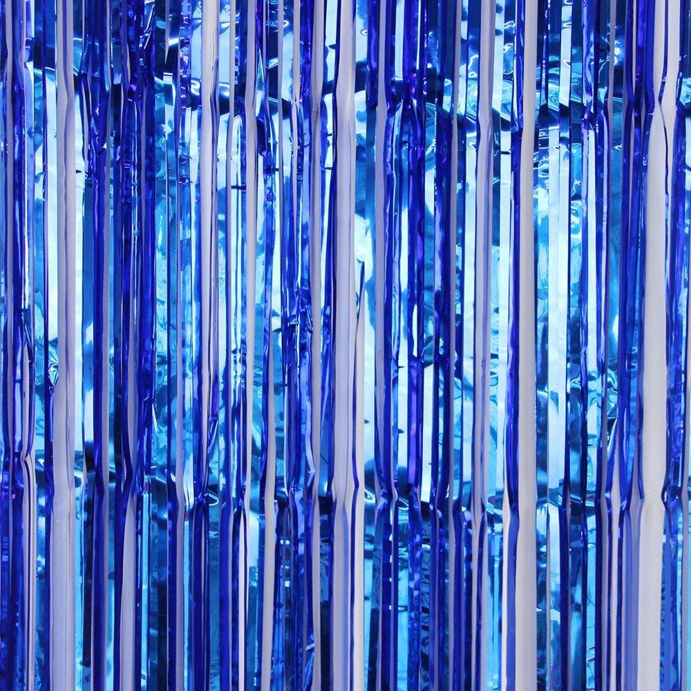 Blue wedding decorations amazon sunbeauty big 3ft x 8ft fringe foil curtain party tinsel backdrop party wedding decoration blue junglespirit Gallery