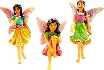 Pretmanns Fairy Garden Fairies – Kit with Miniature Accessories – 3 Garden Fairies – Fairy Garden Supplies