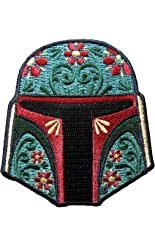 Star Wars Boba Fett Floral Helmet Iron-On Patch