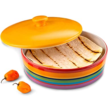 Ceramic Tortilla Warmer by KooK, Colorful Design, Holds up to 12 tortillas