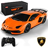 BEZGAR Officially Licensed RC Series, 1:24 Scale Remote Control Car Lamborghini Aventador SVJ Electric Sport Racing Hobby Toy
