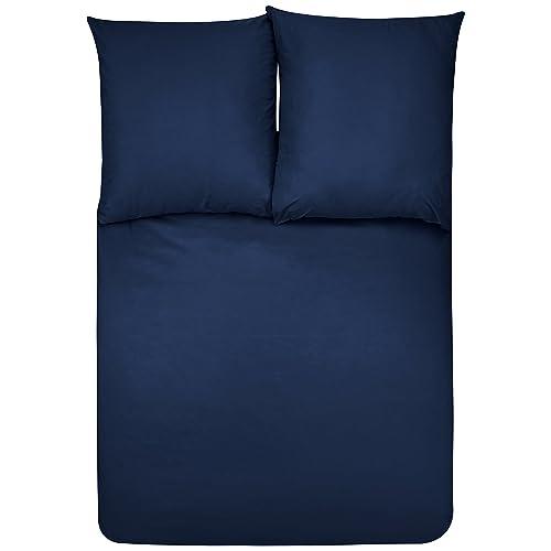 AmazonBasics Parure de lit avec housse de couette en microfibre, Bleu marine, 200 x 200 cm