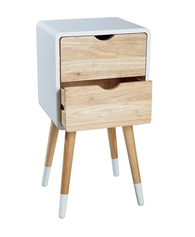 LC GmbH Nachttisch Nachtschrank Holz skandinavisch Retro weiß Natur mit 2 Schubladen 30 x 35 x 70 cm