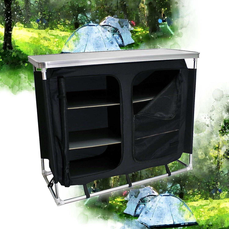 Wiltec ALU Campingschrank Zeltschrank Campingküche Faltschrank