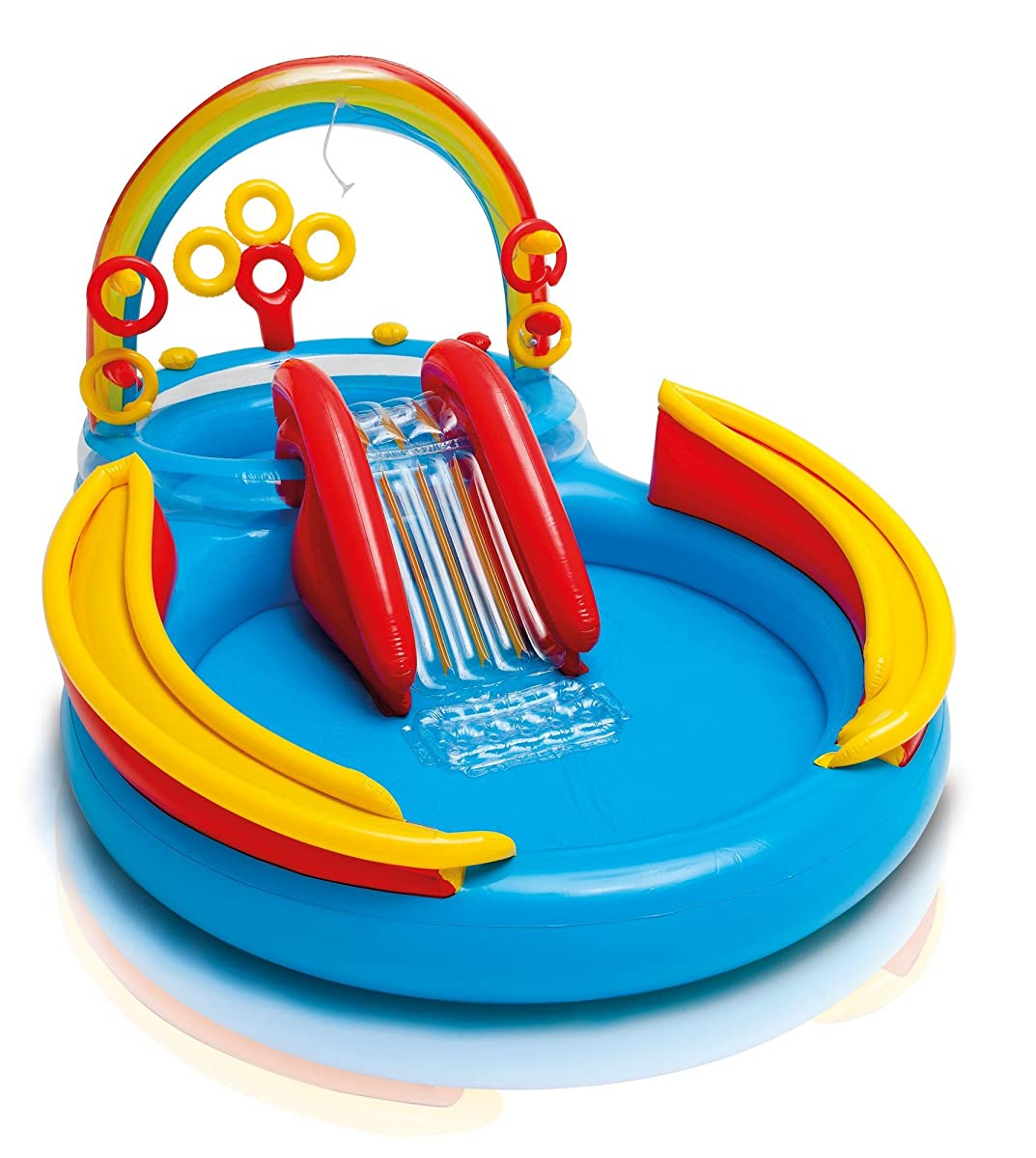 "Intex Rainbow Ring Inflatable Play Center, 117"" X 76"" X 53"", for Ages 2+"