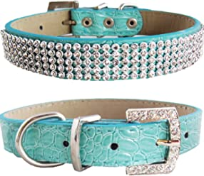WwWSuppliers Crocodile PU Leather Bling Brilliant Sparkling Flashy Glittering Classy Rhinestones Crystal Adjustable Dog Puppy Cat