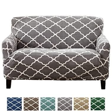 Great Bay Home Modern Velvet Plush Strapless Slipcover. Form Fit Stretch, Stylish Furniture Shield/Protector. Magnolia Collection Strapless Slipcover Brand. (Loveseat, Grey)