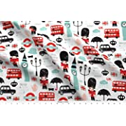 Spoonflower London Fabric - Crazy for London UK Kids Pattern by littlesmilemakers - London Fabric Printed on Basic Cotton Ultra Fabric by The Yard