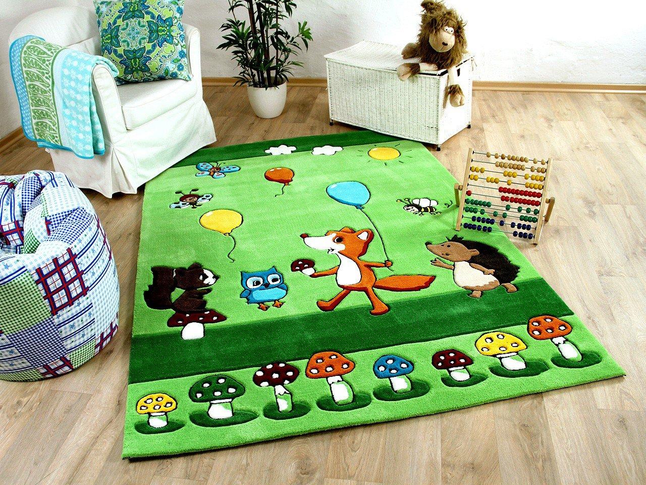 Lifestyle Kinderteppich Waldparty Grün 3 Größen     Sofort Lieferbar