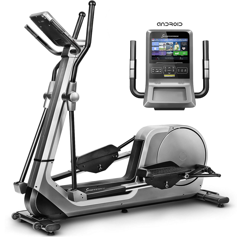 Sportstech LCX800 Luxus Crosstrainer mit Edler Android-Multifunktionskonsole, 24Kg Schwungmasse, Smartphone App, Blautooth-& Pulsgurtkompatibel, 12 Trainingsprogramme, HRC + Tablet-Halterung