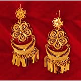 Mexican Chandelier Lightweight Earrings for Women and Girls, Traditional Handmade Oaxaca Floral Filigree Gold Yellow Jewelry