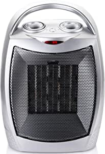 Space Heater Indoor Portable Electric for Office, Ceramic Heater Fan with Thermostat Overheat and Tip-Over Protection, 1500W/750W
