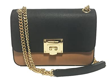 221d58753bab ... metallic 8c7bd 01d57; shopping michael kors vivianne shoulder flap  leather in nickel black acorn ecru dca93 bf422