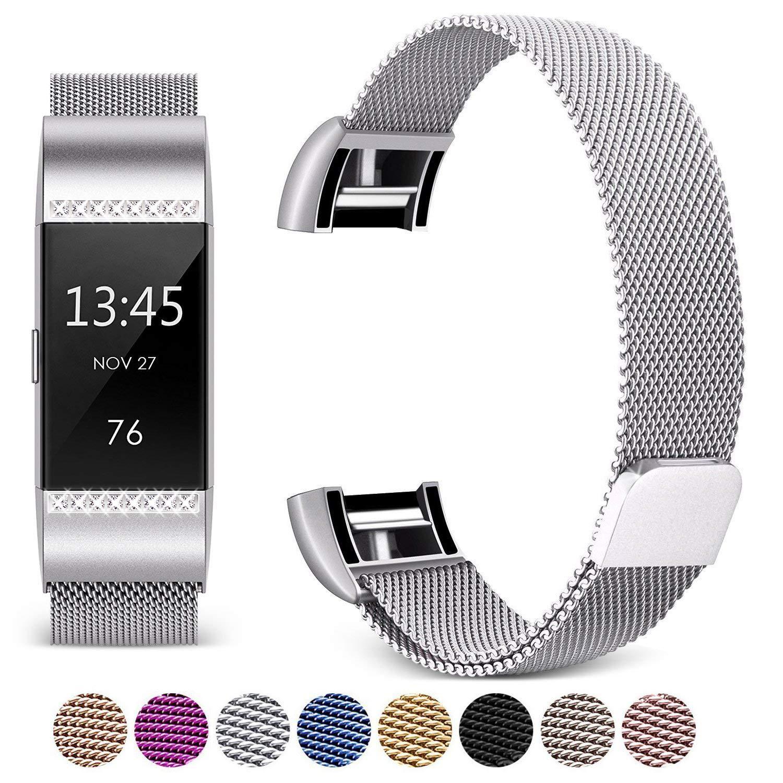 Mornex Bracelet Compatible Fitbit Charge 2, Métal Bande en Acier Inoxydable Réglable Milanaise Remplacment Sangle, Classique Strass Style product image