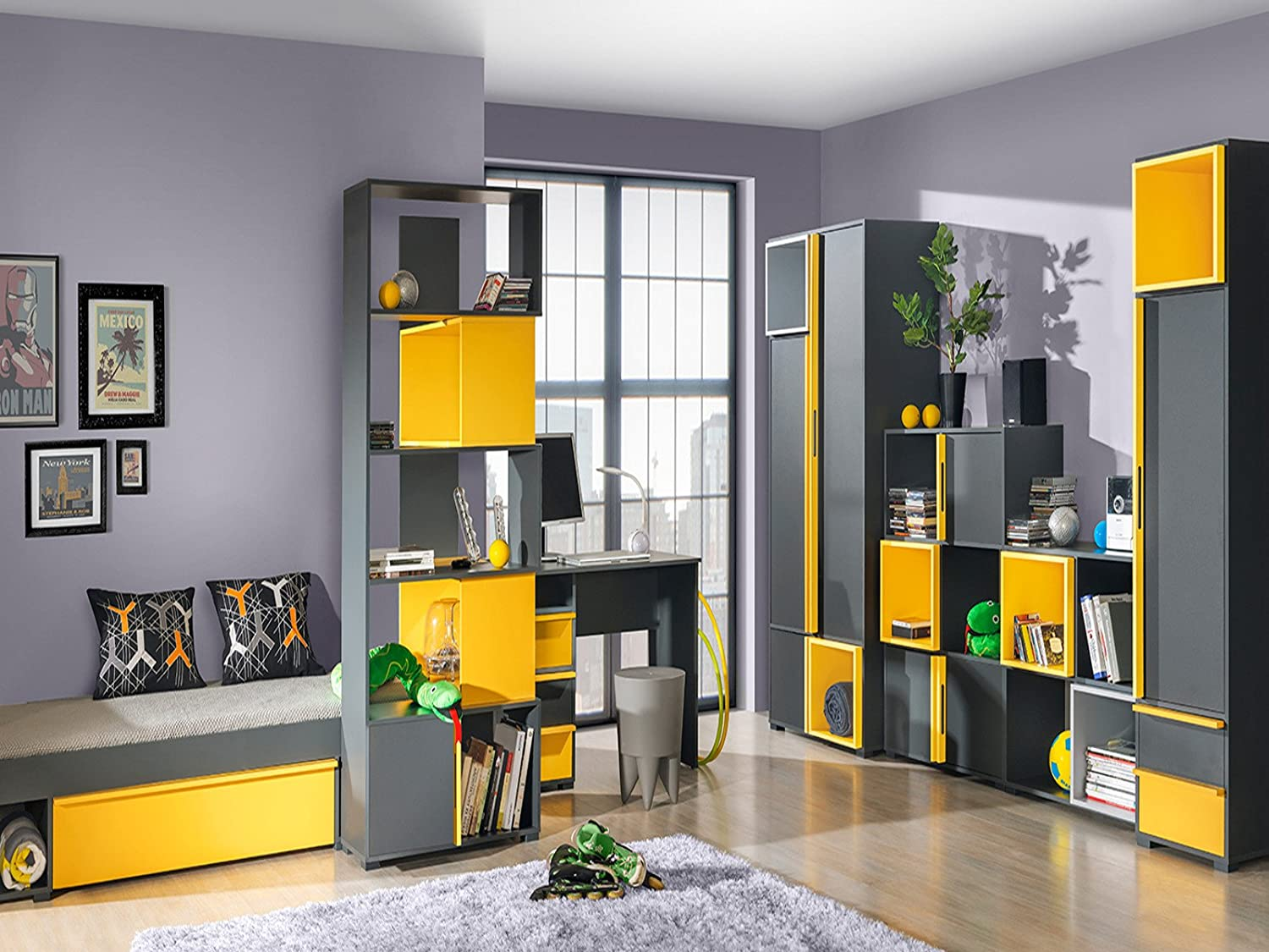jugendzimmer f r m dchen jungen bico 05 7 tlg anthrazit gelb kaufen. Black Bedroom Furniture Sets. Home Design Ideas