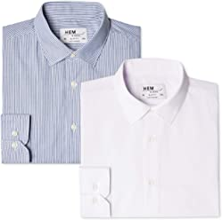 Hem & Seam Men's Slim Fit Striped Formal Shirt, Pack of 2