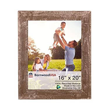 BarnwoodUSA | Farmhouse Picture Frame, 1 1/2  inch Molding - 100% Up-cycled Reclaimed Wood (16x20, Espresso)