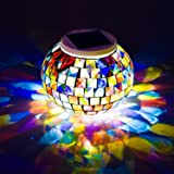 WSgift Color Changing Solar Powered Glass Mosaic Ball Led Garden Lights, Rechargeable Solar Table Lights, Outdoor Waterproof