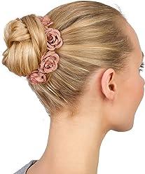SIX SIX Haargummi: Haarschmuck mit Rosen aus Stoff, perfekt für den Dutt, fester Halt, tolles Accessoire zu festlichen Anlässen, rosé (313-743)