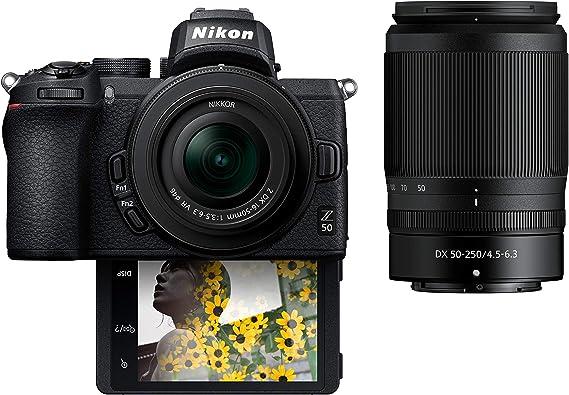 "Amazon.com : Nikon Z50 Compact Mirrorless Digital Camera with Flip Under ""Selfie/Vlogger"" LCD | 2 Zoom Lens Kit Includes: NIKKOR Z DX 16-50mm f/3.5-6.3 VR & NIKKOR Z DX 50-250mm F/4.5-6.3 VR : Camera & Photo"