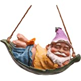 TERESA'S COLLECTIONS 7.5 Inch Funny Garden Gnomes Outdoor Hanging Statue, Fairy Garden Swinging Leaf Hammock Gnome Figurine f