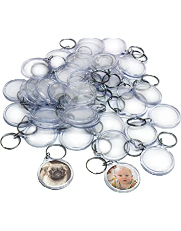 50 Clear Round Acrylic Photo Keychains by Kurtzy - 4 cm Diameter Translucent  Keyring - Wallet 1b6a16dd2a