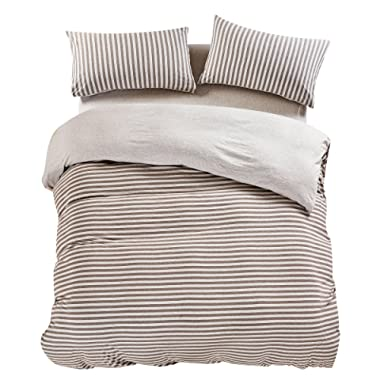 PURE ERA Duvet Cover Set Cotton Jersey Knit Super Soft Comfy Breathable Striped Luxury Bedding Sets Reversible - Brown Grey King