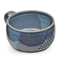 GW Pottery Handmade Stoneware Berry Bowl/Colander, Blue