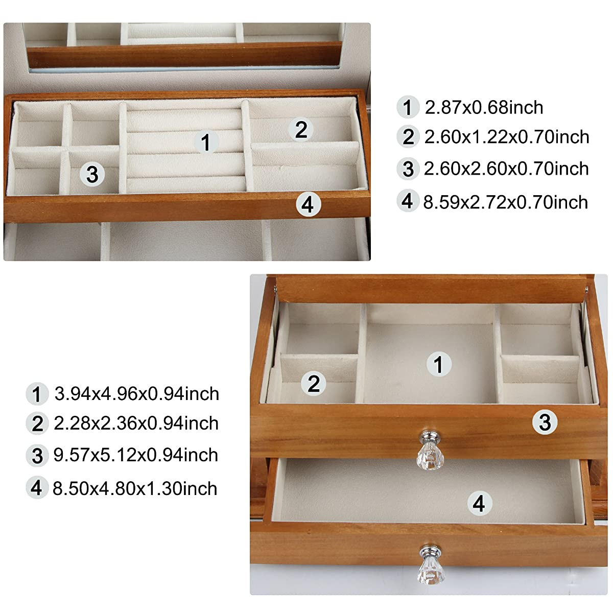 Real Natural Hardwood Wooden Jewelry Box (2-ZH-WJC3AK)