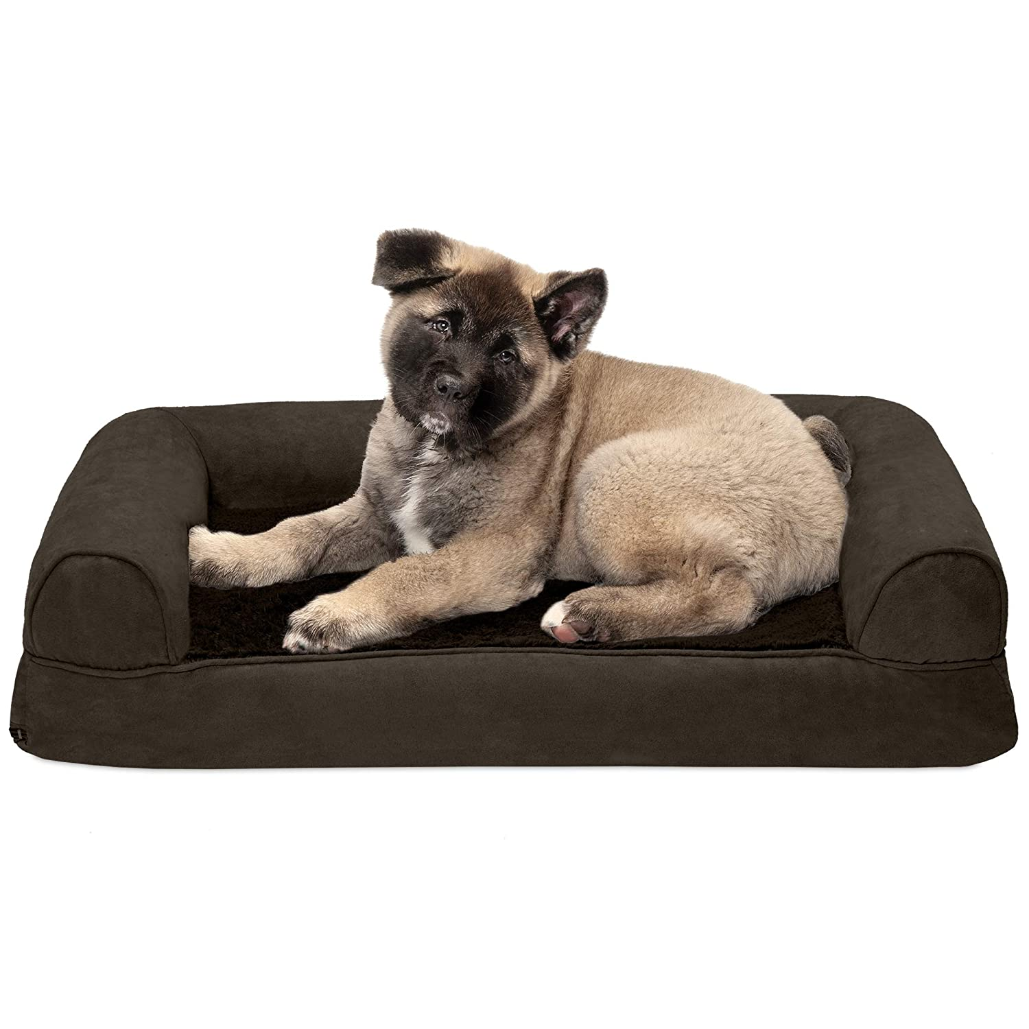 FurHaven Pet Dog Bed   Memory Foam Plush & Suede Couch Sofa-Style Pet Bed for Dogs & Cats, Espresso, Medium