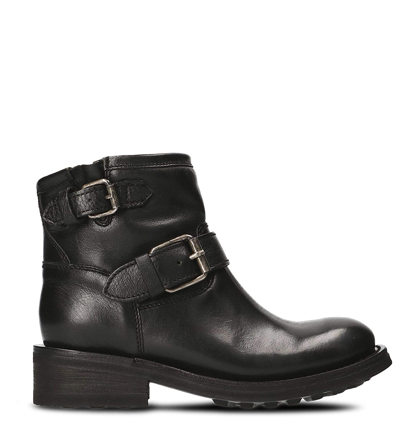- Ash Women's TRICK01 Black Leather Ankle Boots