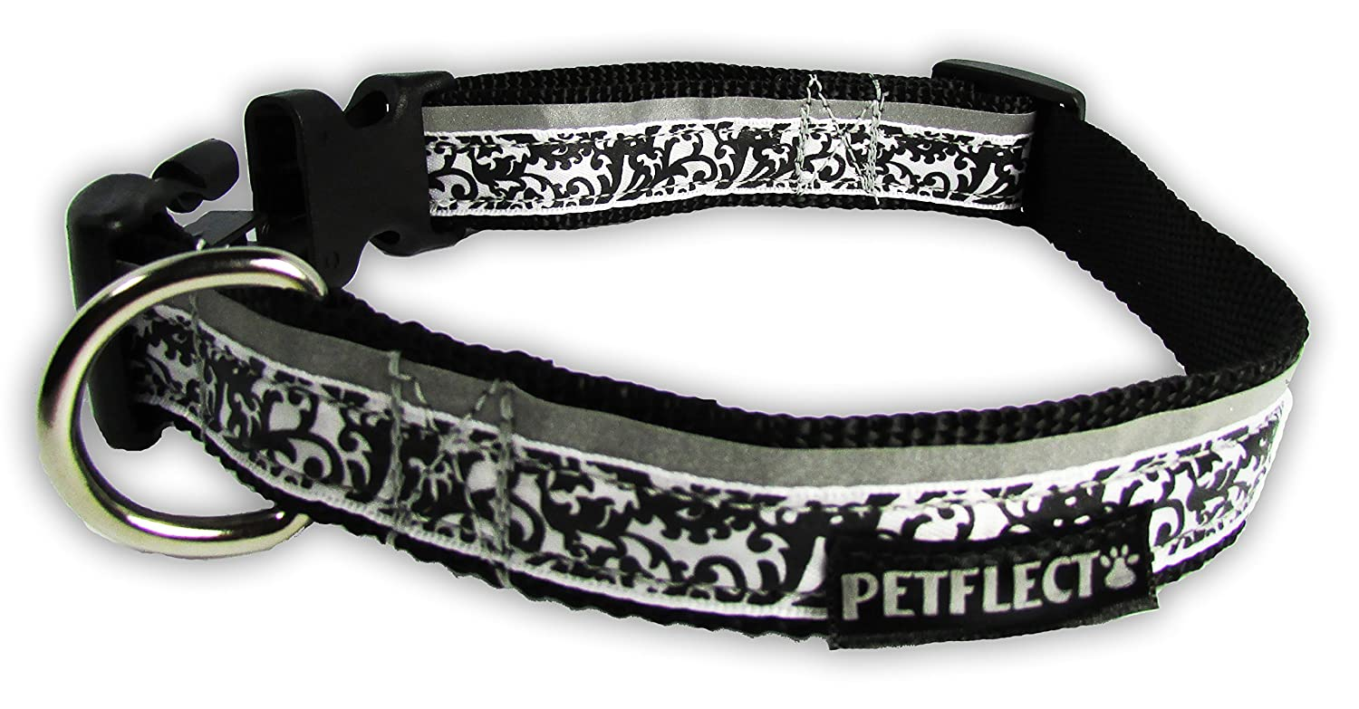 Large Petflect Damask Fashion Reflective Collar, Large