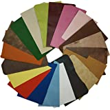 Upon Leather - Genuine Leather Scraps 1 Pound Medium & Large Pieces   6-7 Square Feet Cowhide remnants for Crafts, Earrings,