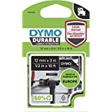 """DYMO D1 Durable Labeling Tape for LabelManager Label Makers, White Print on Black Tape, 1/2"""" W x 10' L, 1 Cartridge (1978365)"""