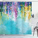 Ambesonne Flower Shower Curtain, Abstract Ivy Romantic and Landscape Spring Floral Artwork Nature Theme, Cloth Fabric Bathroo