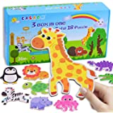 CASAON 18 Pack Toddler Puzzles for 1 2 3 4 5 Year Old, Dinosaur Series & Animal Series & Ocean Series Box Puzzles for Toddler