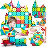 Jasonwell 65 PCS Magnetic Tiles Building Blocks Set for Boys Girls Preschool Educational Construction Kit Magnet Stacking Toy