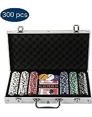 Grandma Shark Ensemble de 300 Jetons 2 Jeux de Cartes 5 Dés 1 Bouton Dealer Mallette en Aluminium(d'Argent)
