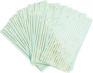 Sugar & Cloth Rectangle Paper Napkins, Mint with Gold Stripe, 32 Count