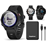 Garmin Forerunner 245 Music (Black) GPS Running Watch Power Bundle   with PlayBetter Portable Charger & HD Screen Protectors