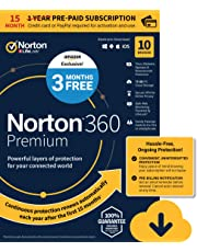 EXCLUSIVE Norton 360 Premium – Antivirus software for 10 Devices with Auto Renewal - 15 Month Subscription - 3 Months FREE - Includes VPN, PC Cloud Backup & Dark Web Monitoring powered by LifeLock - 2020 Ready [Download]