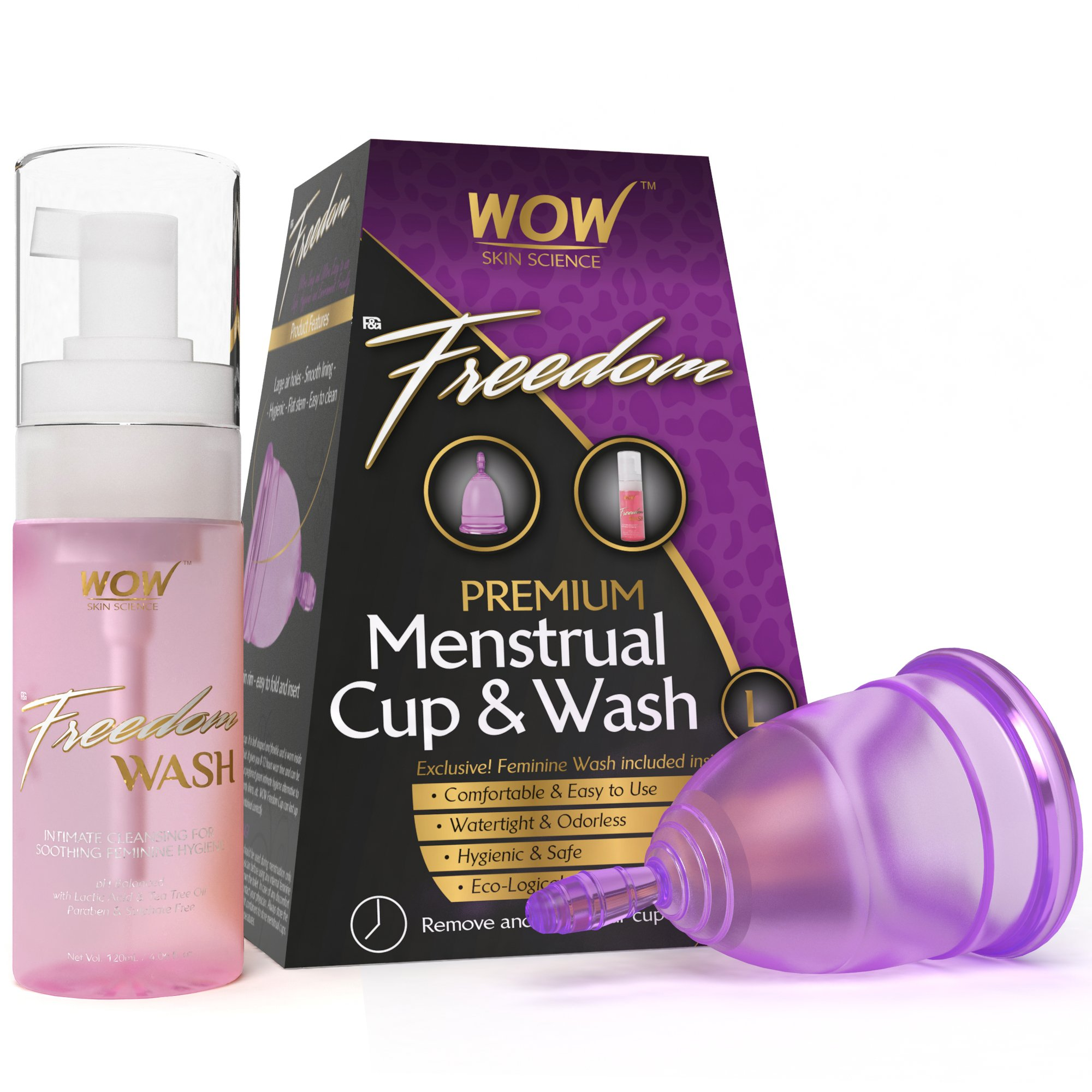 WOW Freedom Reusable Menstrual Cup and Wash Post Childbirth - Large (Above 30 Years) product image